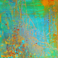 Original Abstract Painting with greens and golds 'I Took a Deep Breath'. $50.00, via Etsy.