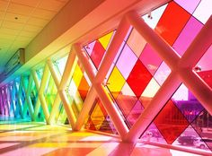 "architect - composer - artist Christopher Janney, Miami International Airport. Title ""Harmonic Convergence"" ""an abstraction of South Florida in color and sound."""