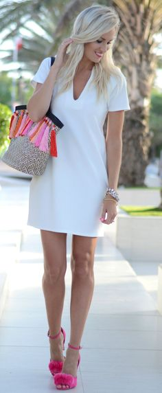 Mc Kenna Bleu White V-neck Shift Dress Fall Inspo