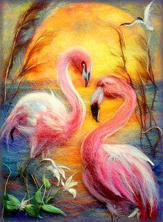 (99+) Одноклассники Flamingo Painting, Bunny Painting, Flamingo Art, Felt Flower Tutorial, Elephant Quilt, Felt Pictures, Needle Felting Tutorials, Wool Art, Tropical Art