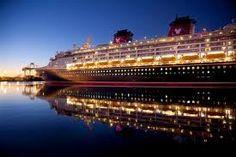 Disney cruise ship all lit up
