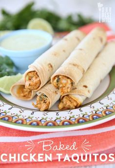 One of THE most popular original recipes on ourbestbites.com.  If you haven't made them yet, you're missing out!   Baked Creamy Chicken Taquitos!