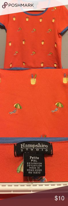 Hampshire Studio Beach Theme Shirt Petite Shirt featuring beach chair with umbrella and bucket with shovel designs. It does have some signs of wear (see pictures).   65% rayon  35% nylon Tops Blouses