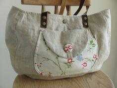sale free shipping Natural linen diaper bag women's purse shoulder bag  tote handbag leather handles OOAK