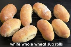 White Whole Wheat Sub Rolls - make your own rolls, cheaper and healthier. Super easy if you have a bread machine.