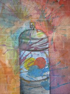 Spray Paint and Brick Watercolor Painting