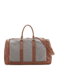 04bbb1eded Brunello Cucinelli Mens Leather   Wool-Cashmere Duffel Bag Weekender