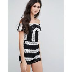 Love & Other Things Lace Monochrome Bardot Playsuit ($33) ❤ liked on Polyvore featuring jumpsuits, rompers, multi, tall romper, lace rompers, lace romper, playsuit romper and lace ruffle romper