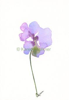 Kunstdruck Aquarell Blume in Lavendel: Fairy Garden Flower