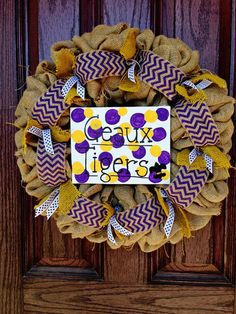 Burlap LSU wreath with purple chevron