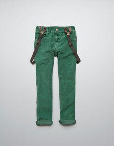 NEEDLECORD TROUSERS WITH BRACES - Trousers - Boy (2-14 years) - Kids - ZARA