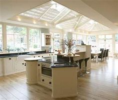 Kitchen with conservatory ceiling