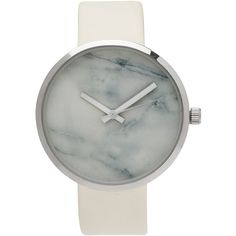 WHITE MARBLE FACE WATCH ❤ liked on Polyvore featuring jewelry, watches, marble jewelry, white watches, white wrist watch and white jewelry