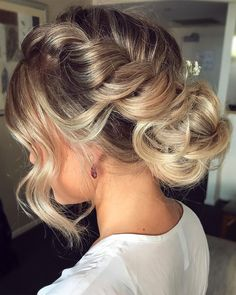 Braid with updo Wedding hairstyle inspiration #braids #crownbraids #updo #hairdown #hairstyles #weddinghair