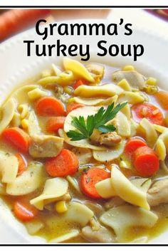 Grandma's Homemade Turkey Soup in 30 Minutes. #homemade #soup #souprecipeseasy #turkey #turkeyrecipe #thanskgiving #thanksgivingrecipes #oldfashionedrecipes #classic #comfortfoodrecipes #leftovers #kidfriendly #holidayrecipe #winterrecipes