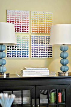 Paint Chip Heart – DIY Wall Art  http://www.iheartorganizing.com/2012/04/reader-space-honey-were-organized-home.html