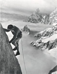 Walter Bonatti. The ropework and protection were very basic at the time... No harness,  just a rope tightened around the waist.  Definitely no falls allowed.
