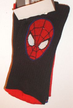 NEW Spiderman Socks TWO PACK 2 pair Marvel Comics Spider & Face THICK Athletic #MarvelComicsbyHYP #Casual10inchCrew