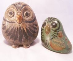 2 Mexico Pottery Owl Figurines Tonala Style by GretelsTreasures, $30.00