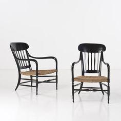 PiasaChiavarine Paire de fauteuils Bois laqué et corde Date de création : années 1960 H 90 × L 60 × P 90 cm
