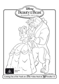 Free Online Beauty And The Beast Colouring Page 2