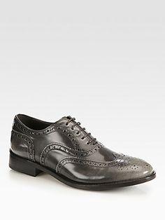 Giorgio Armani Burnished Leather Lace-Up Oxfords