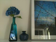 Blue accents in the guest room.