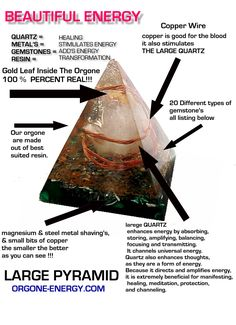 Orgonite Pyramid Infograph - Orgonite transmutes dead energy from cell phones, TV's, computers, electronics, radio transceivers and numerous other electric devices that are not compatible to the electromagnetic fields that encompass a human being. Enhances plant growth, detoxifies & purifies water, creates a calmer environment, clears negative energies, helps awaken psychic abilities, and so much more.