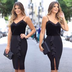 {All black ✨ Regata de veludo com renda + saia midi de babado by @doceflorsp }