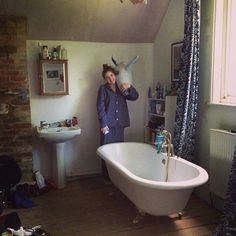 Birdy in her room (strangely, she has a bathtub and sink in it...) with Melancholy Michael!