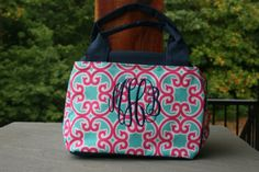 girls personalized lunch bag, girls monogram lunch tote, pink mint floral lunch…