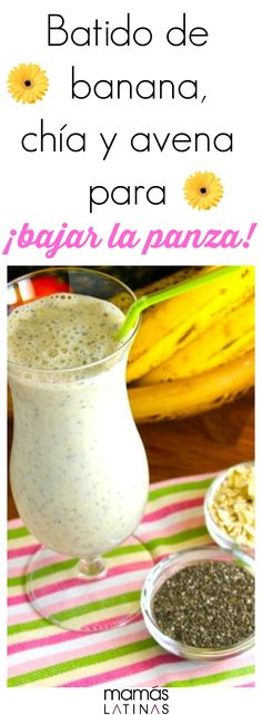 Licuado de banana avena y semillas de chía Healthy Juices, Healthy Smoothies, Healthy Drinks, Healthy Tips, Healthy Eating, Smoothie Drinks, Smoothie Recipes, Nutrition, Healthy Shakes