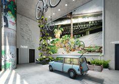 Een urban jungle in het nieuwe hotel van 25hours in Berlijn Bikini --- repinnend by http://www.hotelpincoffs.nl