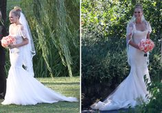"""Molly Sims wore Marchesa's """"Isadora"""" wedding gown for her Napa wedding.  The drop-waist lace sheath gown, from the Spring 2012 collection, has a flare lace skirt and appliquéd cascade sleeves. There are buttons up the back and a sheer lace-trimmed overlay at the neckline."""