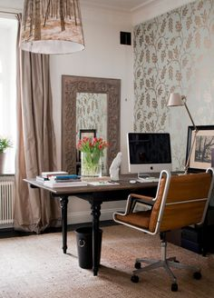 Wallpaper Accent Wall – Wallpapered accent wall in home office w/ forest print on lamp shade;… – Home Office Wallpaper Office Wallpaper, Interior Wallpaper, Modern Wallpaper, Wall Wallpaper, Office Walls, Office Decor, Home Office, Office Ideas, Office Spaces