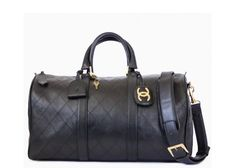 Vintage Chanel Black Lambskin Flat Quilt Boston Duffle Bag
