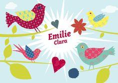 Geburtskarte / Faire-part de naissance «BIRDSBIRDS» #cardswithlove