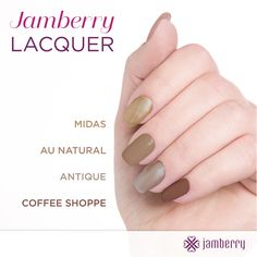 Jamberry Professional Nail Lacquer provides rich, creamy color in the season's chicest shades. Our 5 FREE formulas go on smoothly for great overall coverage and optimal wearability!