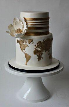These gorgeous wedding cake photos are sure to inspire your cake design. Gorgeous Cakes, Pretty Cakes, Cute Cakes, Amazing Cakes, Sweet Cakes, Travel Cake, Travel Party, Themed Wedding Cakes, Wedding Themes