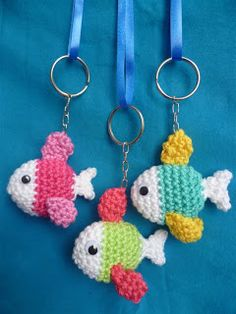 Crochet Fish for key chains, hanging ornaments Crochet Ganchillo Uncinetto Hälken  Fish Sea