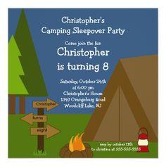 Camping Sleepover Boys Birthday Invitation