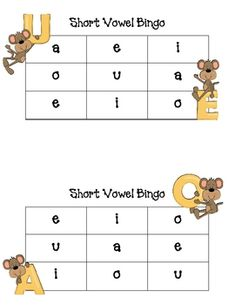 Short Vowel BINGO {free}