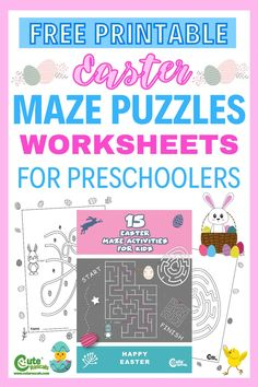 Solving mazes are good for kids. Click this pin to download and print 15 pages of Easter maze worksheets for kids. #Easter #Easterworksheets #freeprintables #kidsworksheets #kidsprintables #activitysheets #worksheetsforkids #kindergartenworksheets #preschoolworksheets #Easterbunny #Eastereggs #Easterforkids #prek #preschoolers #kindergarten #mazeworksheets #HappyEaster #kidsmazes #mazepuzzles #puzzlesforkids