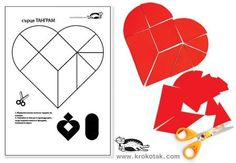 TANGRAMS for Grade-Schoolers.kids craft for valentine's day,.The heart holds many puzzles… but this one is so fun to solve it's been around for 120 years! Valentines Day Activities, Valentine Day Crafts, Valentine Heart, Puzzles For Kids, Activities For Kids, Crafts For Kids, Cadeau Parents, Puzzle Crafts, Heart Crafts