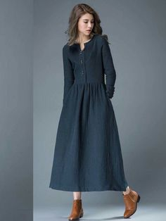 Navy Blue Spring Maxi Dress – Linen Comfortable Casual Everyday Fit & Flare Office or Work Woman's Dress Navy Blue Summer Dress – Linen Comfortable Casual Everyday Fit & Flare Office or Work Woman's Dress Linen Dresses, Women's Dresses, Blue Dresses, Casual Dresses, Casual Outfits, Hipster Outfits, Sleeve Dresses, Work Outfits, Dresses Online