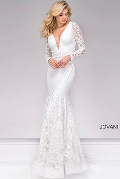 Off White Lace Form Fitting Pro Dress 50026