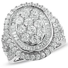 3 CT. T.W. Oval Diamond Regal Ring in 14K White Gold - Jewelry Rings - Gordon's Jewelers