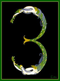 Number 3 -Erte - by style - Art Deco. Mooi , ook het alfabet is zoals de letter M. Vintage Mermaid, Mermaid Art, Art Nouveau, Stars D'hollywood, Erte Art, Romain De Tirtoff, Estilo Art Deco, Illustrator, Inspiration Art