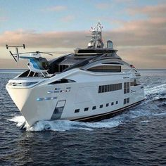Yacht Design, Super Yachts, Speed Boats, Power Boats, Yachting Club, Bateau Yacht, Luxury Helicopter, Private Yacht, Cool Boats