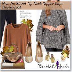 New In: Stand Up Neck Zipper Cape Tweed Coat